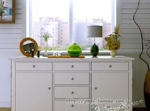 地中海/比邻乡村风格餐边柜/美克美家实木/美式斗柜实木白色定制,收纳柜,