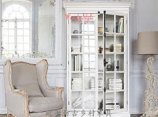 小号现货~出口法国米洛仿古橡木实木单锁2门书柜陈列柜展示柜-2尺,收纳柜,