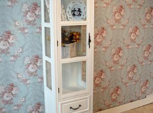 【私家生活】实木陈列柜酒柜玻璃展示柜欧式酒柜田园橱柜餐家具,收纳柜,