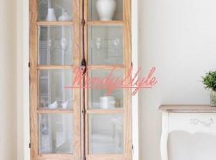 现货~出口法国乡村风格洛可可系仿古锁橡木实木书柜展示柜,收纳柜,