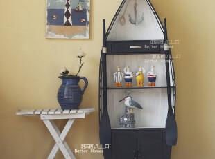 地中海家居必备蓝白船柜 实木展示柜 陈列柜 储物柜,收纳柜,