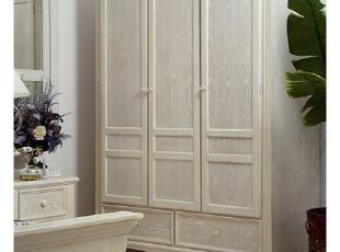 华日家居 实木美式经典卧房套爱琴海三门衣柜 新品特价正品,收纳柜,