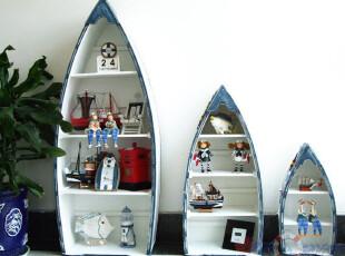 三皇冠特价【地中海风格】家具三件套蓝白船柜 装饰柜书柜10GJ010,收纳柜,