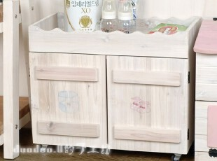 妈妈的爱 手绘淡雅系 实木置物柜 婴儿用品储物柜 【预订】,收纳柜,