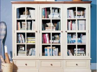 地中海 实木手工三门书柜 西西里书柜00,收纳柜,