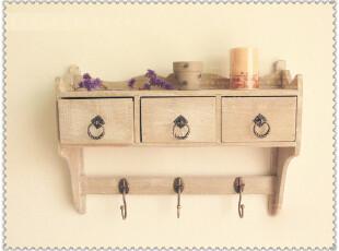 突尼斯小镇—地中海风格 实木隔板 置物架 田园挂箱 乡村壁挂,收纳柜,