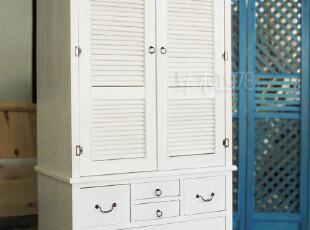 地中海家具 实拍! 圣托里尼白色做旧衣柜 大衣柜【预定】00,收纳柜,
