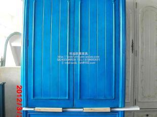 科迪家具/出口/欧美仿古做旧/地中海复古蓝色/两门衣柜/韩式衣橱,收纳柜,