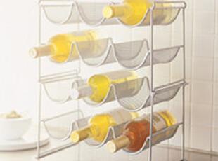 宜家风简约网格金属红酒架 酒柜 装饰架 可叠加 吧台必备,收纳柜,