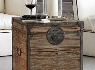 出口法国家具布莱梅多能实木储物箱床头柜电话柜边桌箱凳A款预订,收纳柜,
