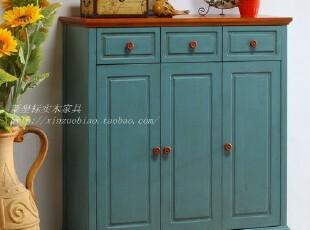 地中海家具 美式乡村 实木餐边柜 鞋柜,收纳柜,