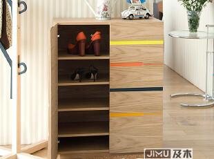 JIMU及木家具 现代简约时尚对开门实木彩色柜子高档玄关鞋柜XG001,收纳柜,