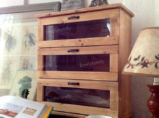 出口订单乡村田园风格复古做旧 三抽木柜/抽屉柜/储物柜,收纳柜,