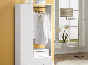 简约双抽单开门挂杆衣柜衣橱衣架,收纳柜,