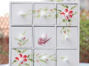 天使·玫瑰 地中海田园白色浮雕木质九格抽屉首饰柜|置物柜 3款选,收纳柜,