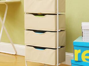 潮土-四层抽屉置物架 杂志 收纳架 玩具收纳架 铁架收纳箱,收纳柜,