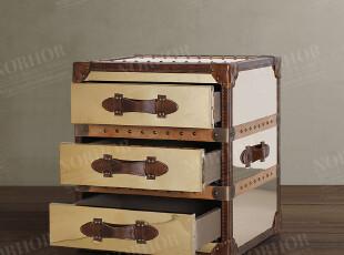 北欧表情/顶级家具/罗凯堡真皮金色镜面不锈钢3抽箱/茶几/床头柜,收纳柜,