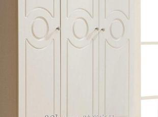 汉人居-韩式衣柜/宜家衣柜/三门白色田园衣柜 HL608A-1,收纳柜,