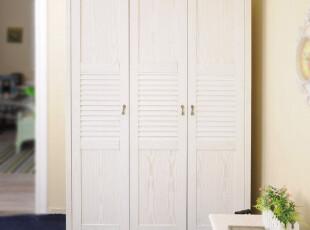 地中海风格 水曲柳木 实木衣橱 三门衣柜FBT_ MW7-3,收纳柜,