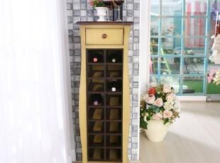 玫瑰乡村—美式乡村复古 实木酒柜 地中海风格家具 做旧红酒柜,收纳柜,