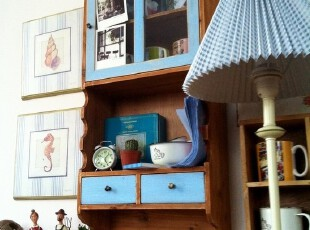 出口日杂做旧收纳 蓝色双抽屉 玻璃门 三层挂柜/壁柜/壁挂/玄关柜,收纳柜,