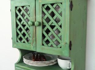 出口实木做旧绿色双抽屉木门三层挂柜/壁柜/玄关柜,收纳柜,