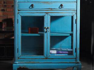 【汉资 东方情怀】餐边柜 实木彩漆做旧 新中式 双门玻璃 可定制,收纳柜,