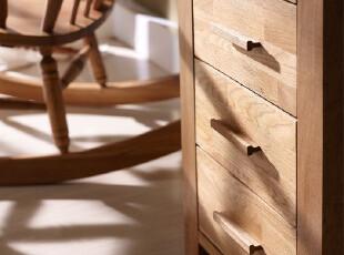 【家具精品馆】水生之城 出口英国宜家实木橡木环保/三抽床头柜,收纳柜,