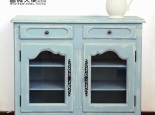 欧式乡村 地中海田园风格蓝色实木门厅柜玄关柜 餐边柜地柜 包邮,收纳柜,