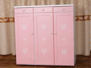 包邮实木环保正品 三门大容量 粉色简约鞋柜 储物柜 收纳柜特价,收纳柜,