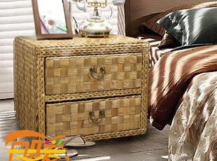 目暖首发 藤编卧室床头柜 简约实木结构 田园家具收纳柜 时尚现代,收纳柜,