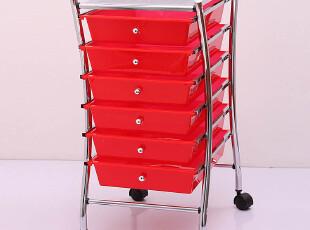 红色6层抽屉柜 书房办公收纳柜子 塑料移动储物柜zakka卧室收纳架,收纳柜,