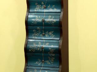 欧式田园美式乡村 客厅卧室复古手绘七斗柜 地柜 包邮,收纳柜,