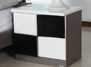 薇宝 套房配套床头柜 简约现代 黑白色 床边柜 时尚大方 002,收纳柜,