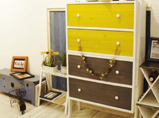 实物拍摄!地中海家具 实木 创意家具 彩色可组合斗柜 抽屉柜00,收纳柜,