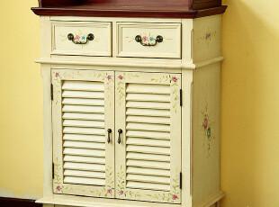 美式乡村 实木手绘复古客厅门厅鞋柜 双开门储物柜 包邮,收纳柜,