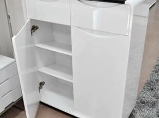 莫柏思家具-双门对开 白色烤漆黑色玻璃  宜家原创 免安装 鞋柜,收纳柜,