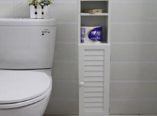 韩式田园美式白色卫生间置物柜/卫生间置物架/浴室收纳柜边柜宜家,收纳柜,