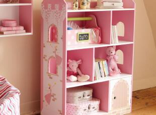 【实体店】原单出口女孩粉色儿童书架卡通仙女城堡书柜玩具收纳,收纳柜,