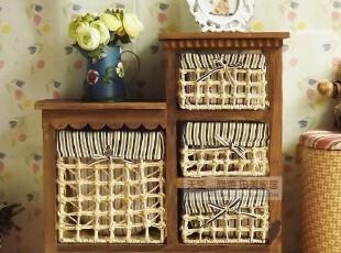 包邮~韩式田园风格~时尚高低实木棕色储物收纳柜床头柜X1-EB,收纳柜,