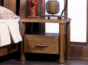 百谷 新中式家具 实木床头柜 榆木家具 带抽屉床头柜 JC1015,收纳柜,