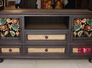 泰国家具荷花电视柜实木雕刻彩绘125*62东南亚风格客厅家具A045,收纳柜,