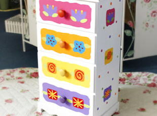 儿童家具 花朵图案 四抽柜/儿童柜子/儿童收纳/床头柜,收纳柜,