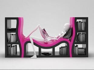 欧式创意个性设计睡床书架宜家办公室玻璃钢烤漆落地书柜置物架类,收纳柜,