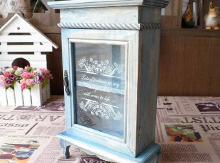 zakka杂货 实木 复古 做旧 玻璃立柜 首饰收纳柜 展示柜 复古蓝,收纳柜,