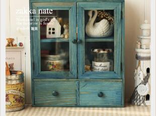 zakka 杂货 复古水洗蓝收纳柜 丝印玻璃双开门储物柜 杂物收纳,收纳柜,