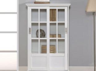 特价包邮欧式书柜带玻璃门储物柜简易置物柜收纳柜子书架组合柜,收纳柜,