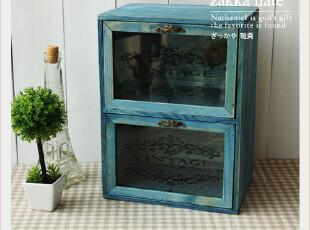 ZAKKA杂货 水洗蓝玻璃门做旧木盒 木箱收纳柜 二抽屉收纳盒,收纳柜,