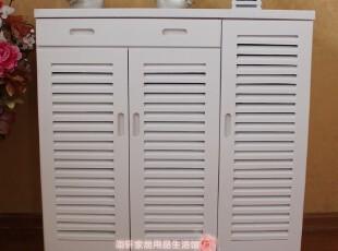 出口外贸新款鞋柜、大容量储物柜、白色百叶透气鞋柜、实木家具,收纳柜,
