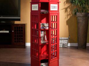 特价英国电话亭伦敦怀旧风红色CD柜储物柜书柜收纳柜柜类置物柜,收纳柜,
